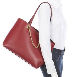 Coach 78218 deep red signature chain tote